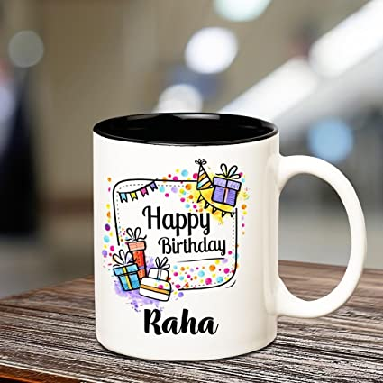 261793a98f2 Buy Huppme Happy Birthday Raha Inner Black coffee name mug Online at Low  Prices in India - Amazon.in