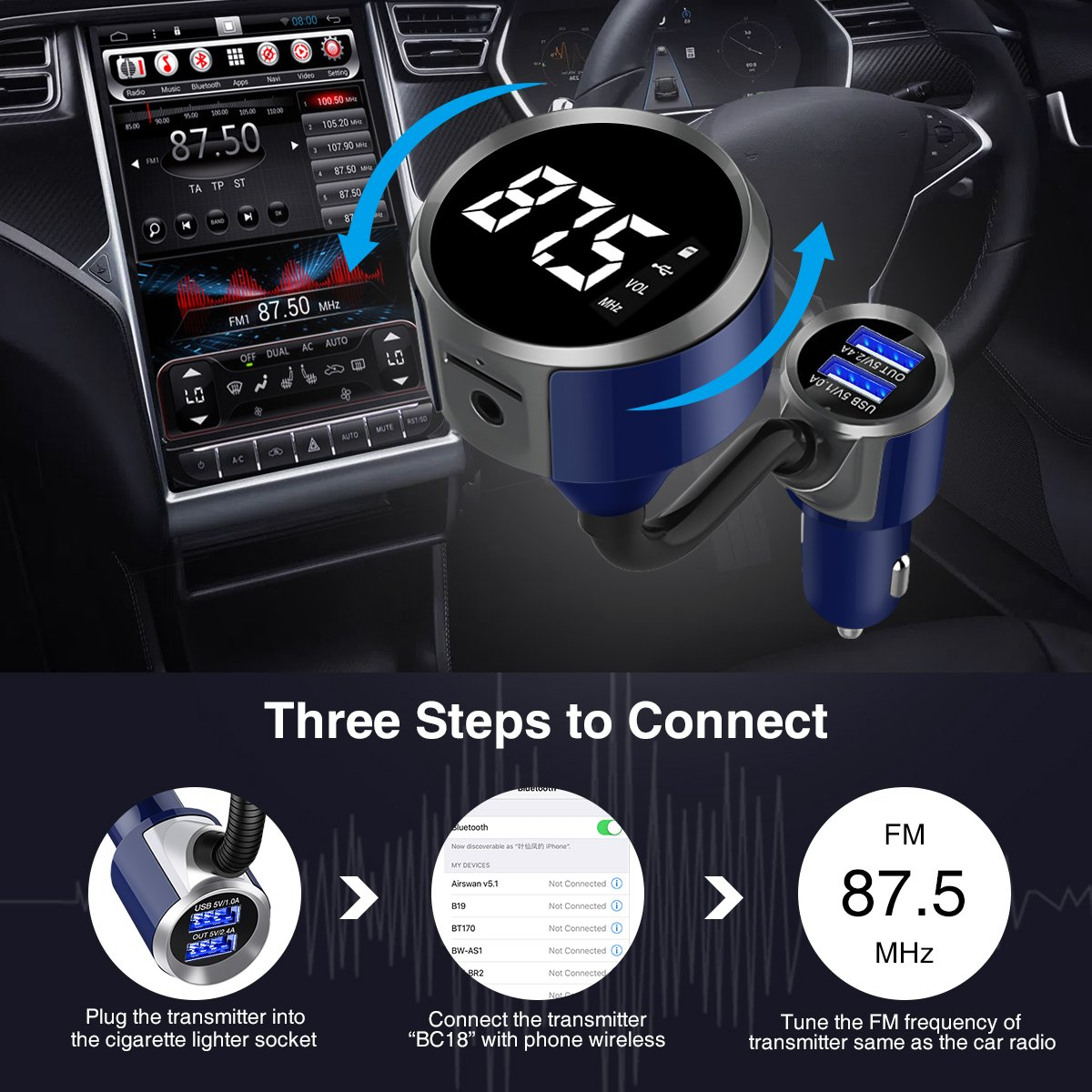 ELEGIANT Wireless FM Transmitter for Car FM Radio Adapter Car Kit One-Touch Button U-Dish Hands-Free Call with Dual USB Ports Black Furmoresa ELEGIANTFurmores4600 Aux In//Out Support TF Card Bluetooth FM Car Transmitter