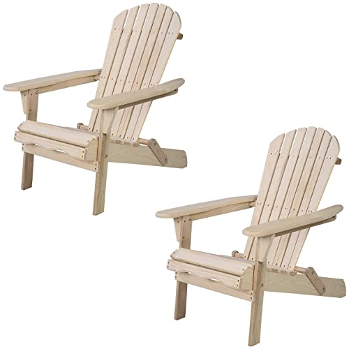 WALCUT Foldable Adirondack Wood Chair Garden Furniture Patio Lawn Deck Outdoor Folding Chair Set of 2