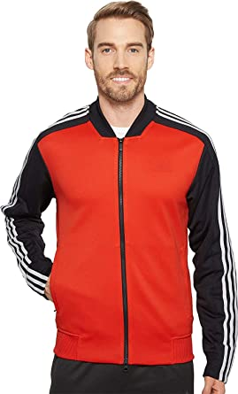 3ada9f767acf adidas Men s Sport ID Track Mixed Bomber Jacket Hi-Res Red Small