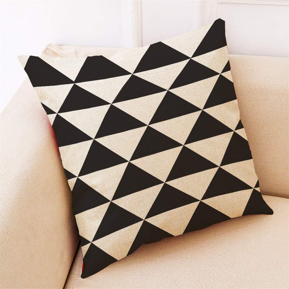 Coj/ín de Almohada de geometr/ía Blanco y Negro Funda de Almohada Decorativas para el hogar JiaMeng Funda de coj/ín de Almohada