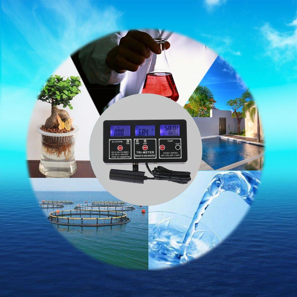 ppm //temp KKmoon 7/en 1/eau preuve Metro Digital LCD multifonction multipar/ámetro eau qualit/é moniteur essayeur ORP//PH//RH//EC//CF//TDS