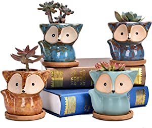 Succulent Pots Planters Ceramic Pot Cute for Plants Fox Flower Mini Potted Cactus Small Bonsai Study Bedroom Balcony Fairy Tale Garden Home Holiday Birthday Wedding Party Gift (Fox Ceramics)