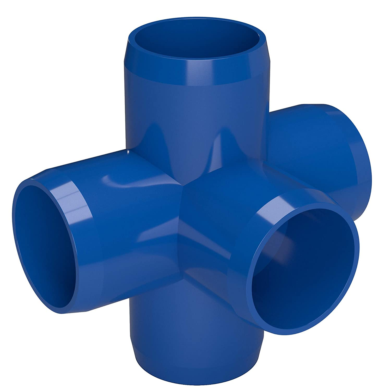 3//4 Size Blue Furniture Grade Pack of 8 FORMUFIT F0345WC-BL-8 5-Way Cross PVC Fitting