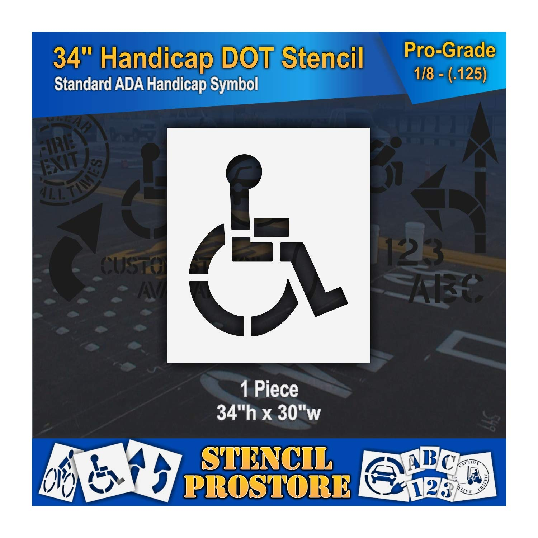 Pavement Stencils - 34 inch - Handicap - ADA Stencil - 34'' x 30'' x 1/8'' (128 mil) - Pro-Grade by Stencil ProStore