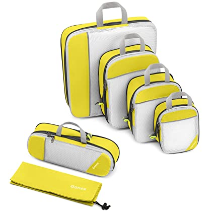 Gonex – 6 packs Organizador para Maletas Viaje Equipaje Bolsas de Embalaje Almacenaje para Organizar Ropa Zapatos Cosméticos Cubos Ultraligeros ...