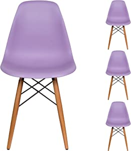 Liani | Mid Century Modern Chair (Purple) - Designer MONOFRAME Modern Dining Chairs Set of 4 for Living Room Accent Chair, Side Chair, Dining Table and Kitchen Chairs - Mid century Modern Furniture