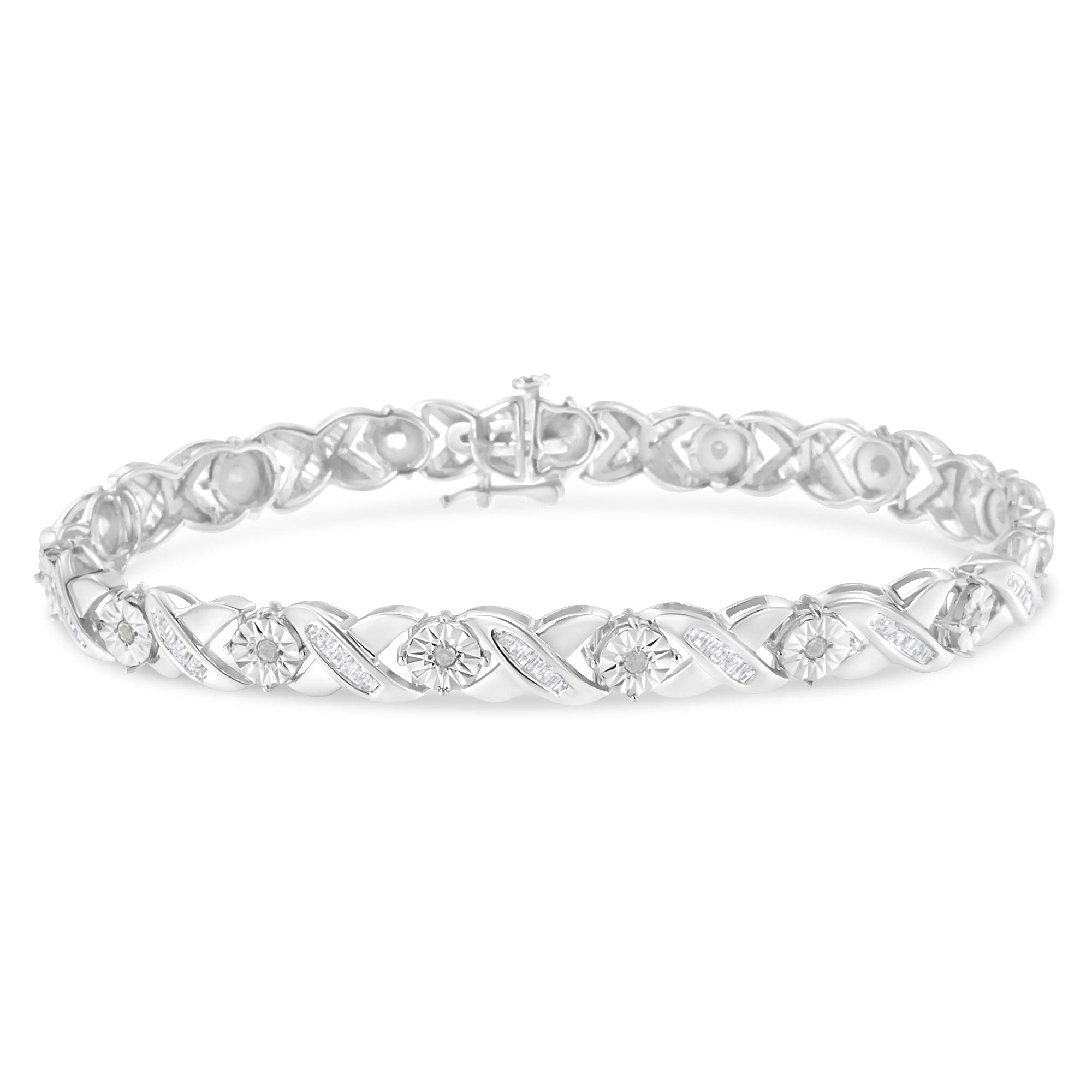 Sterling-Silver Diamond X-Link Bracelet (1.08 cttw, I-J Color, I2-I3 Clarity) by Original Classics