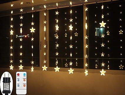 Led Fenster Weihnachtsbeleuchtung.Lichtervorhang Weihnachten Led Für Innen Fenster Sterne Lichterkette Mit Timer Fernbedienung 24v Lichterketten Warmweiß 8 Modi Weihnachtsbeleuchtung