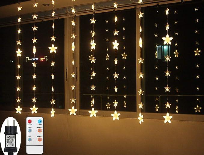 Lichtervorhang Weihnachten LED für Innen Fenster Sterne Lichterkette mit Timer Fernbedienung 24V Lichterketten Warmweiß 8 Mod