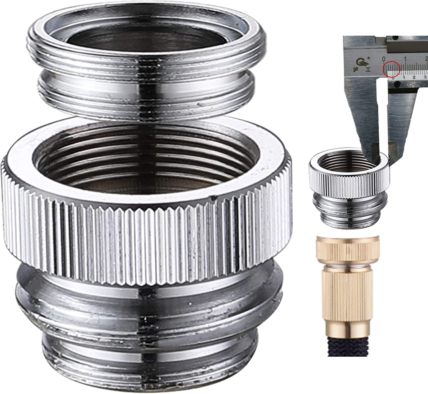 Faucet Adapter Connects Garden Hose or Other 3/4'' Thread Hose, Brass Kitchen Sink Aerator Quick to Connect (Chrome)