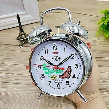 Yanshu Mecánico Reloj Despertador Retro Mecanismo Cuerda Manual Metal Cobre Puro Movimiento Estudiante G: Amazon.es: Hogar