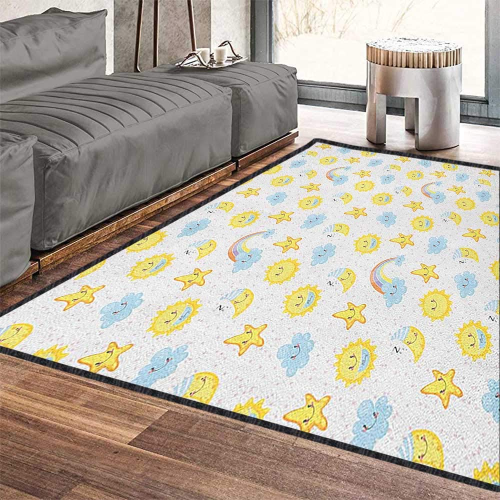 Kids Decor Area Rug,Happy Smiling Moon and Stars Good Morning and Night Rainbows Funny Clouds Suitable for Bedroom Home Decor Yellow Baby Blue Pink 79''x118'' by Philip C. Williams