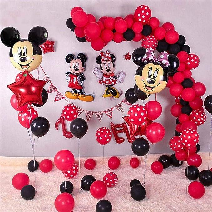 Juego de globos de látex negro con diseño de Minnie Mickey Mouse ...