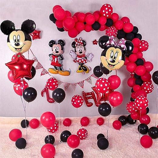 HNTHBZ Globo 1set Cabeza De Minnie Mickey Mouse Hoja Hincha ...