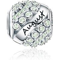 Forever Queen Geburtsstein Charm Bead für Damen 925 Sterling Silber, zum Geburtstag, 12 Farben, Jan - Dez, Pandora Anhänger für Armband und Halskette FQ0004
