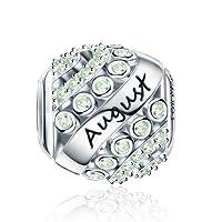 Forever Queen Charms Naissance pour Pandora Bracelet - Breloques Ajourés de Perles en Argent Sterling 925, Charms Joyeux Anniversaire pour Bracelet et Collier FQ0004