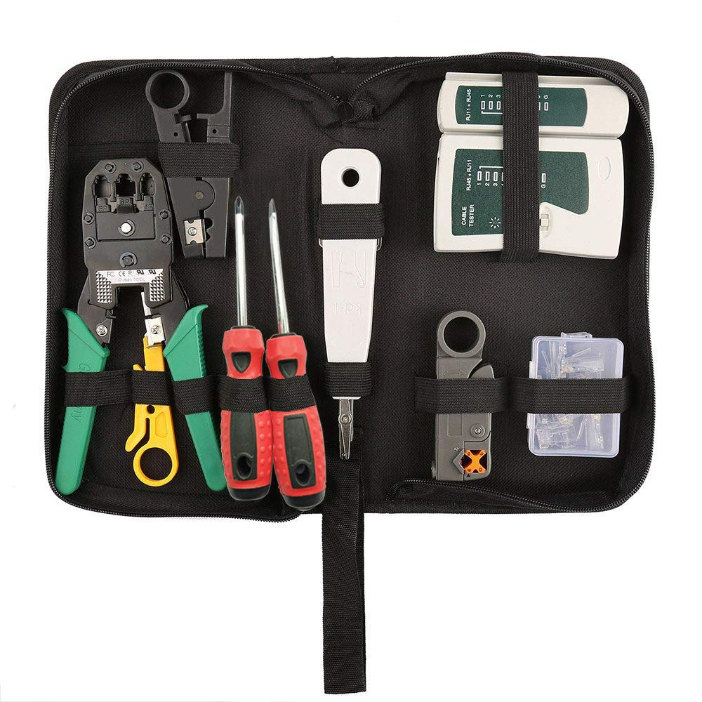 Hiija 9 in 1 Network Tool Kits Professional Cat6 Rj45 Crimp Tool 8P8C Rj45 Connectors Cable Tester 2Pack Screwdriver Stripping Tool Set
