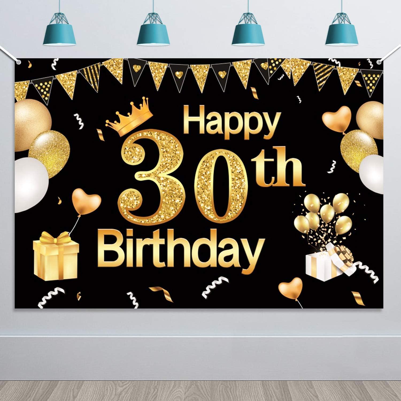 Extra Große 30 Geburtstag Banner Für Frauen Mann 30 Jahre Geburtstag Dekorationen Schwarz Gold 30 Geburtstag Stoff Zeichen Plakat Photo Booth Hintergrund Für 30 Geburtstagsdeko 5 9 3 9 Füße Spielzeug