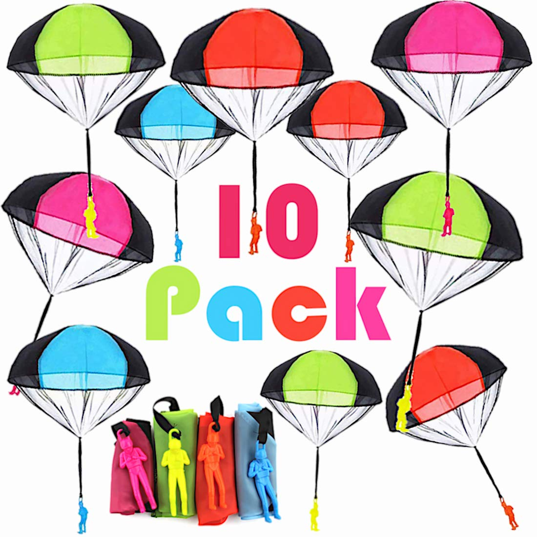 Kvvdi 10 Pcs Kids Plastic Parachute Army Man Toy Soldier, Mini Army Paratrooper Tangle Free Parachute Guy Toy, Kids Parachute Paratrooper Toy Soldier Action Figure for Outdoor Children Flying Toys by Kvvdi