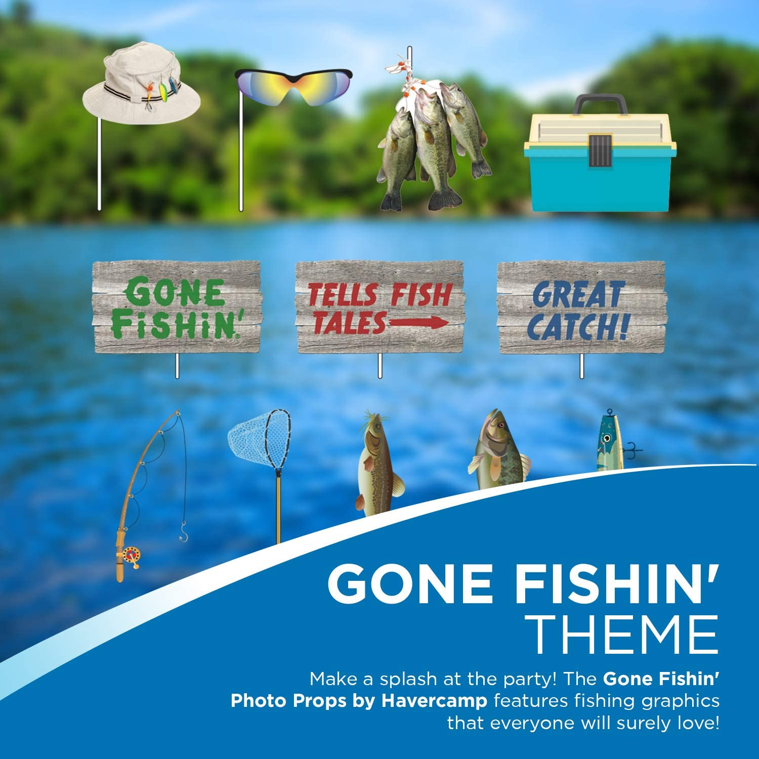 Fathers Day Havercamp Gone Fishin 12 Count Photo Booth Props Stick Paper Accessories Fishing Birthday Retirement