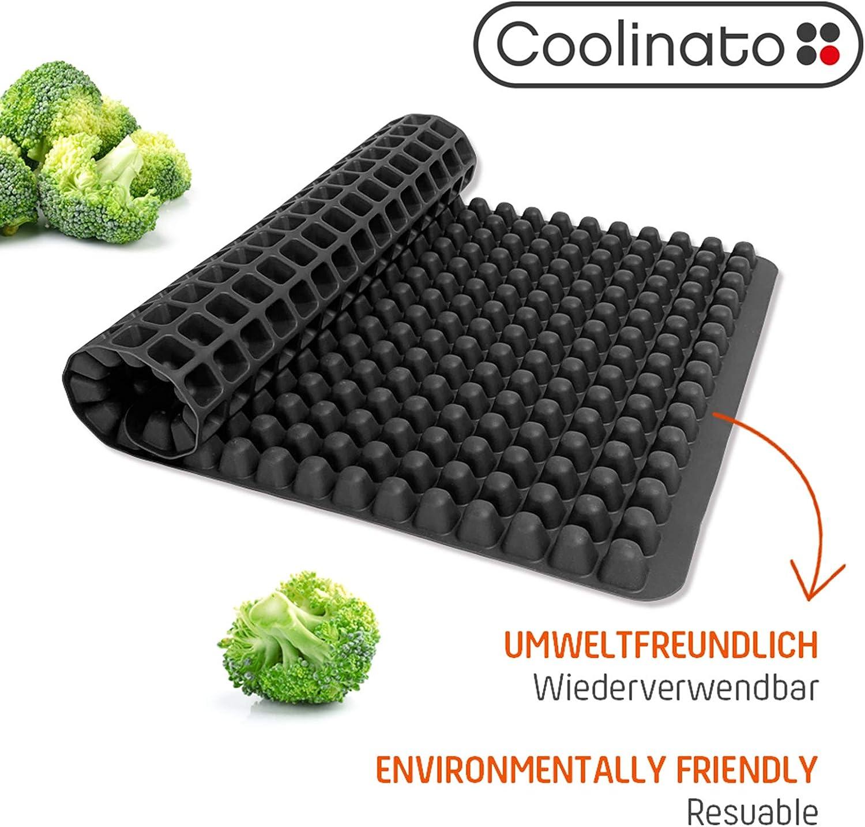 Coolinato pieghevole e lavabile in lavastoviglie teglia raccogli grasso in silicone 40x25x0,7 cm con bottoncini sistema a scanalature per cottura al forno