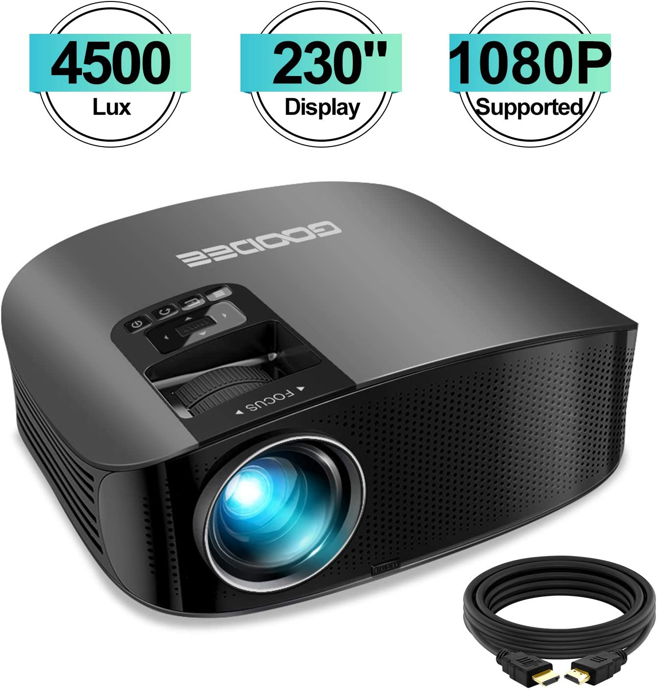 Projector, GooDee Upgrade HD Video Projector