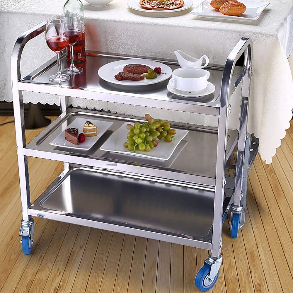 Chariot de Service Desserte Cuisine pour Cuisine 3 Plateaux, Roues Universelles pour Mobile, Convient pour l'hôtels, Restaurants et Foyers de Soins (Argenté, 95x55x95cm)