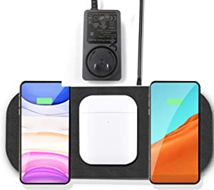 (Upgrade) Fast Wireless Charger Station,Qi Multiple Devices Triple Wireless Charging Pad with 36W Adapter for iPhone 12/11 Pro Max/X/XS/XS, Samsung Galaxy Note 10/S10/S20, New AirPods (Black)