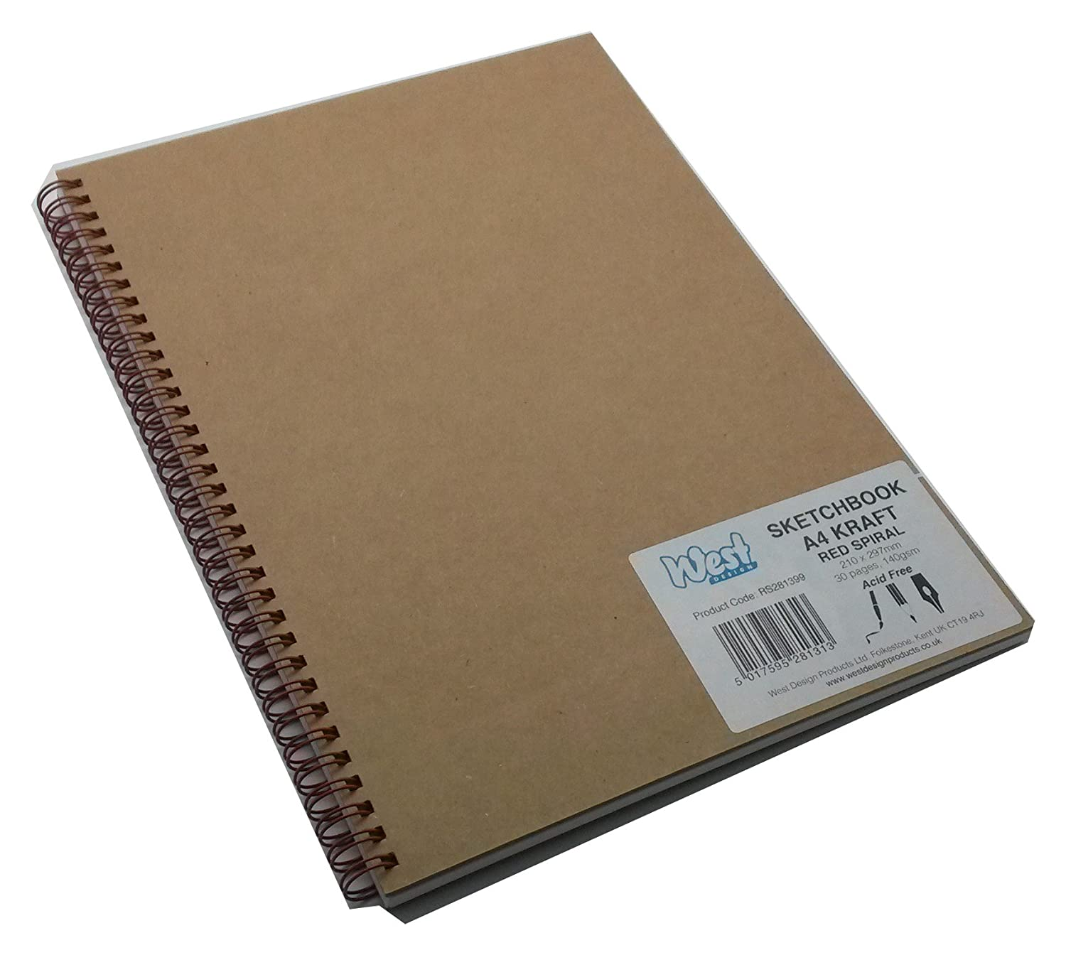 13 Colours 140 gsm paper 40 pages West Design A4 Artist/'s Drawing Sketchbook