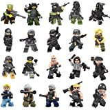 Minifigures Set of 20 Army Minifigures SWAT Team with Military Weapons Accessories Policeman Soldier Minifigures for Party Favors