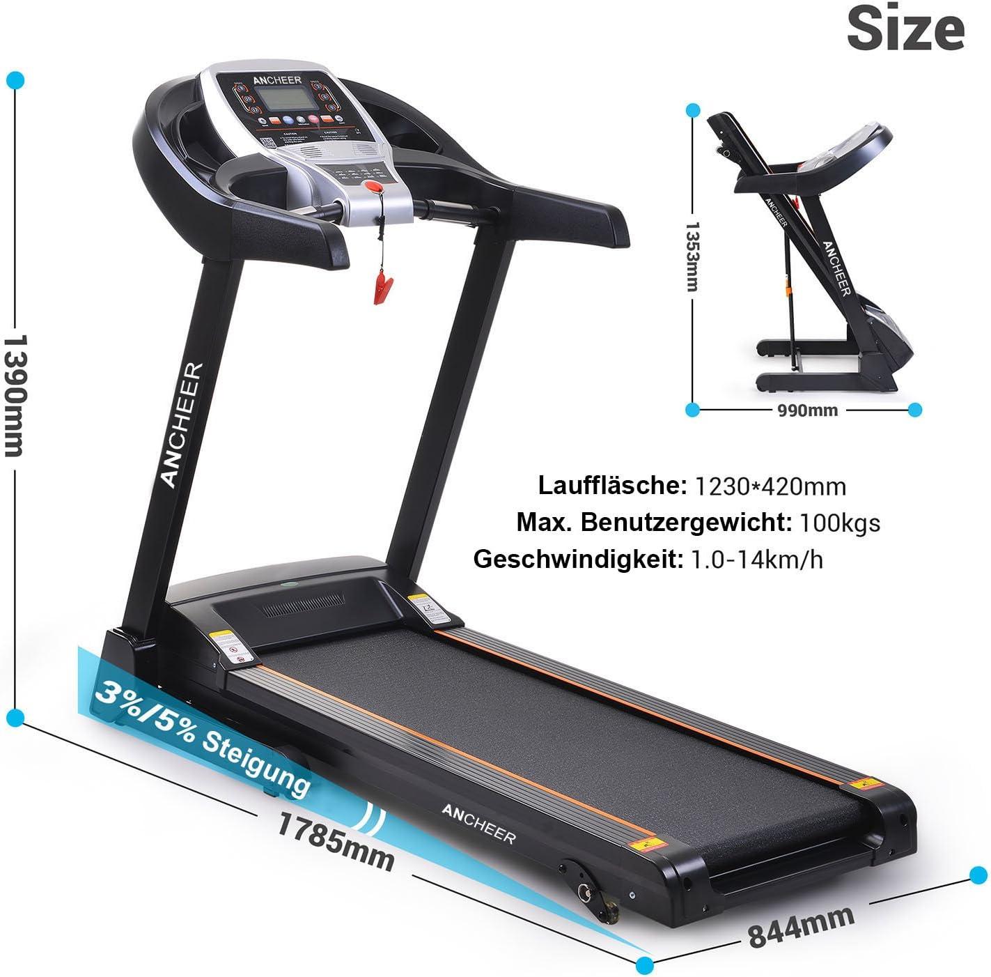 LONTEK Sports Laufband Elektromotor mit Trainingscomputer Zusammenklappbar 14km//h 15/% Automatische Steigung 12 Individuelles Trainingsprogramm mit Safety Key Sicherheitsfunktion