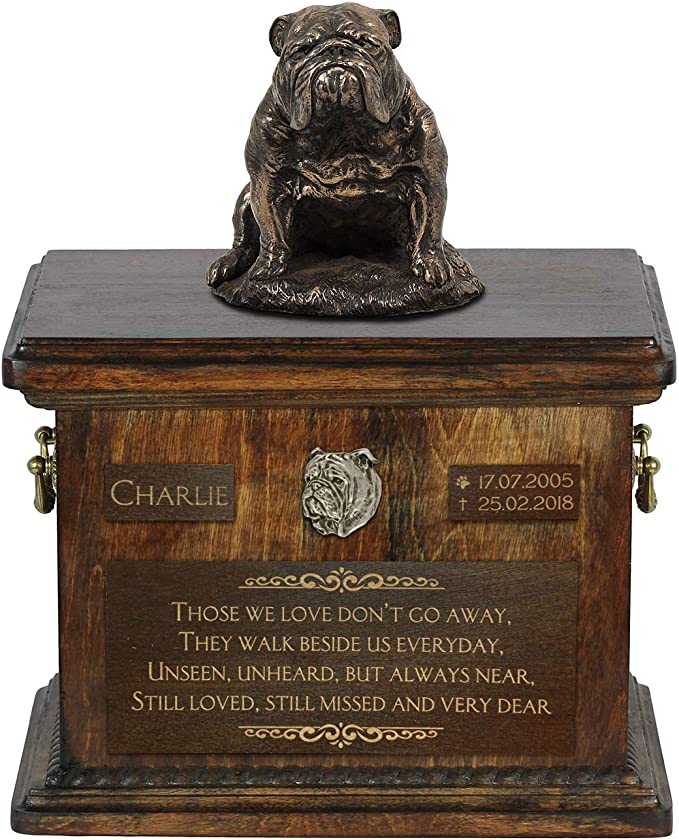 Cremation box Urn for dog\u2019s ashes with relief and sentence with your dog name and date ART-DOG Custom urn. English Pointer Low model