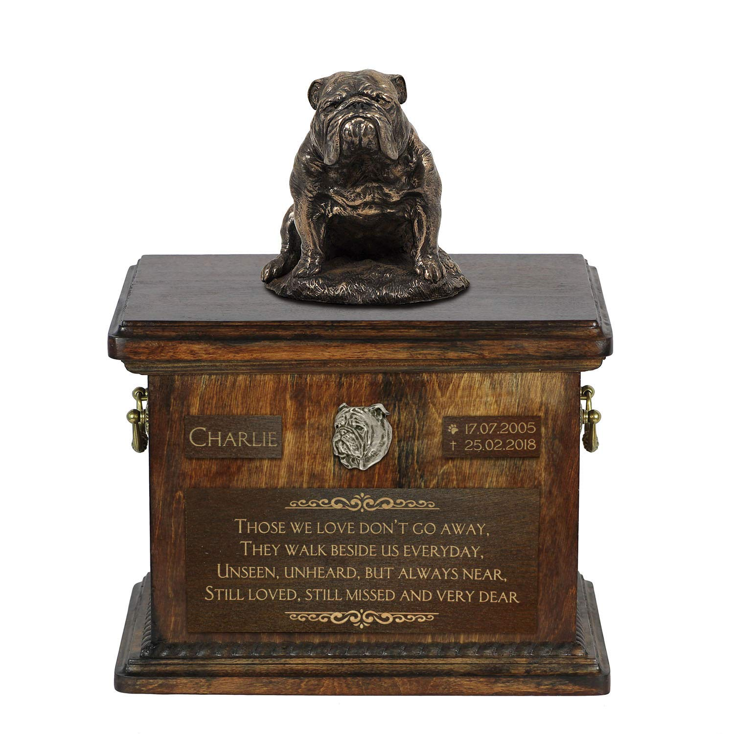 Bulldog Sitting, Urn for Dog Ashes Memorial with Statue, Pet's Name and Quote - ArtDog Personalized