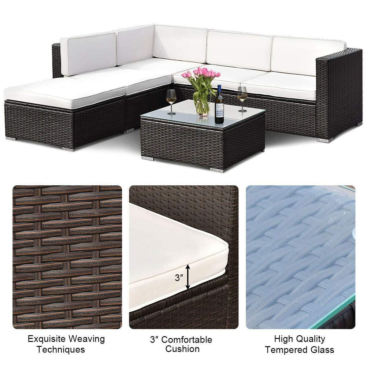 Amazon.com: ANA Store - Sofá de mimbre de 4 piezas con ...