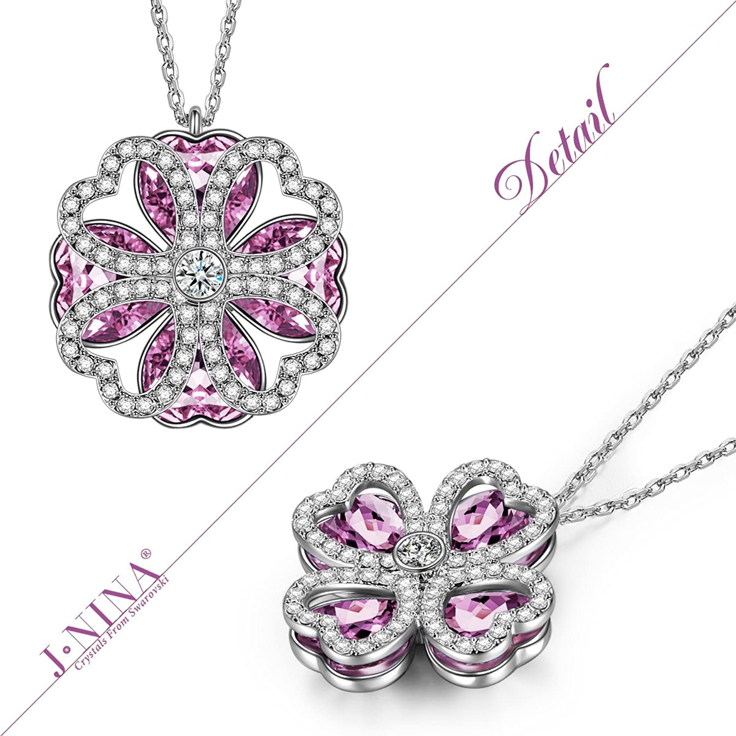 """Amazon.com: J.NINA """"Lucky Meeting"""" Made with Swarovski Crystals, Clover  Hollow Rotatable Pendant Heart Women Necklace, Ideal Gift for her: Jewelry"""