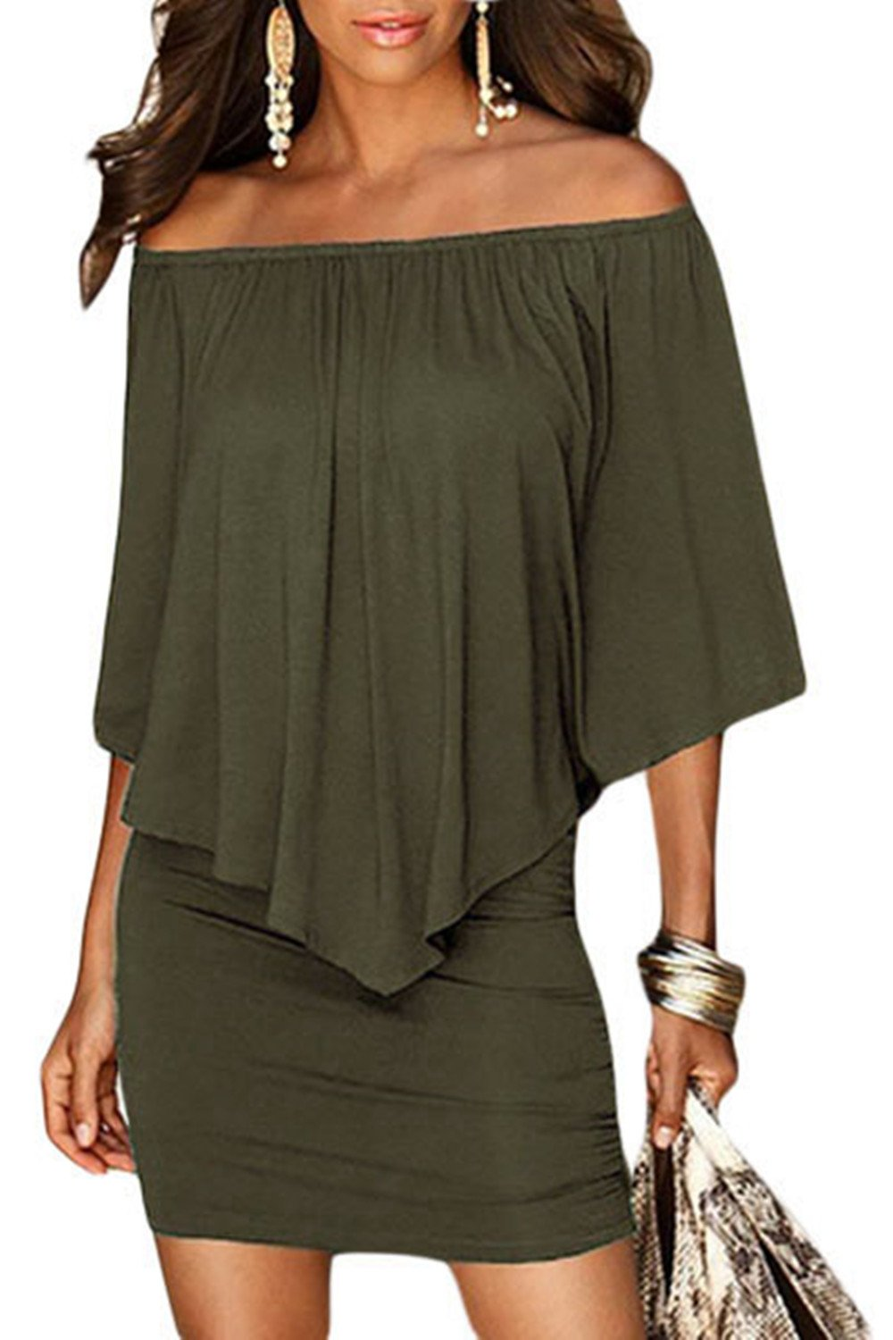 Sidefeel Women Off Shoulder Ruffles Party Mini Dress Large Green