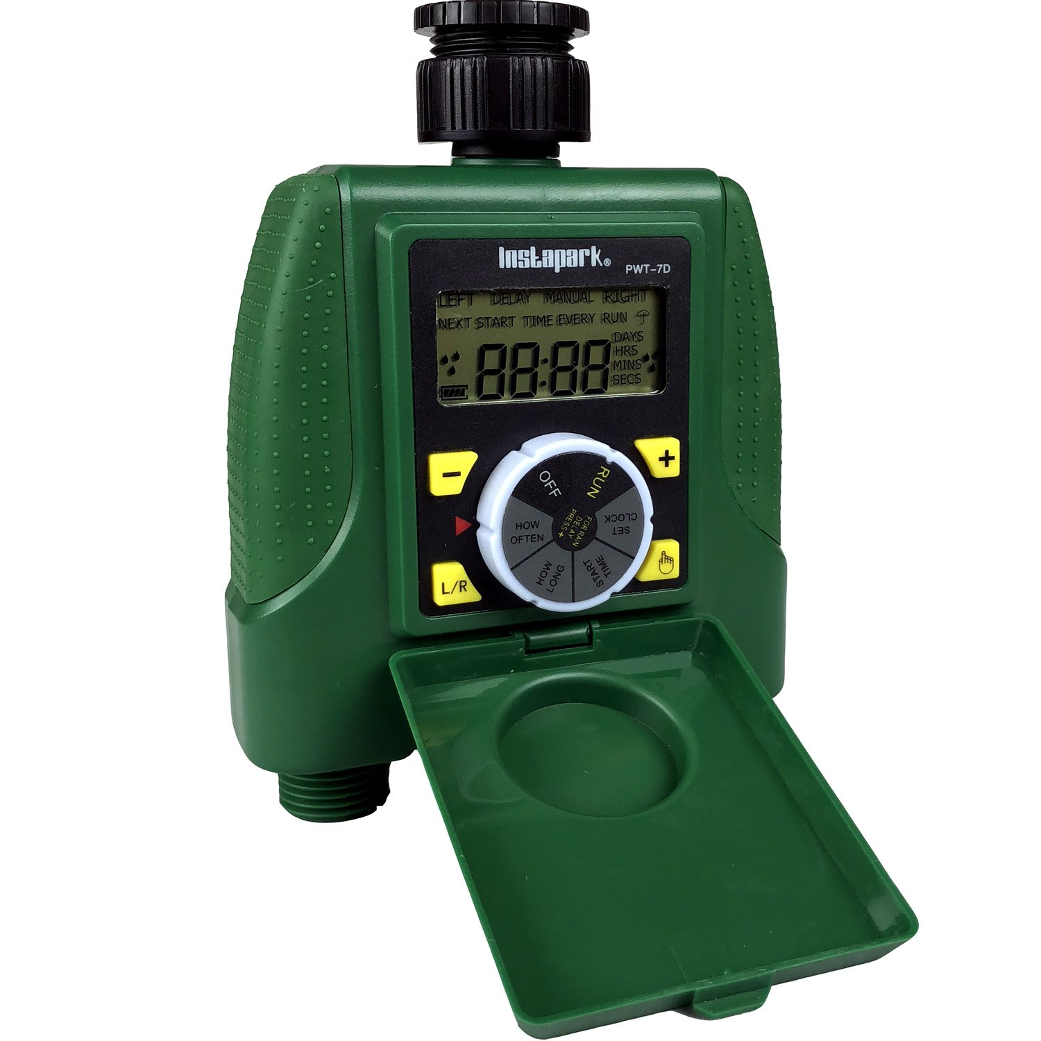 Instapark PWT-7D Outdoor Waterproof Electronic Digital Programmable Dual 2-Outlet Automatic On Off Water Faucet Hose Timer with Rain Delay and Manual Control