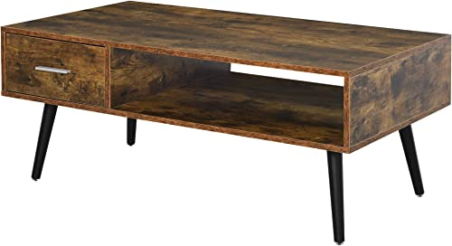 HOMCOM Mid-Century Modern Coffee Table Side Desk with 1 Drawer 1 Open Storage Shelf, for Living Room Bed Room