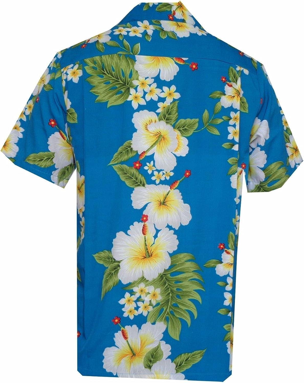 Camicie stile hawaiano con stampa fiore di ibisco festa sulla spiaggia Aloha