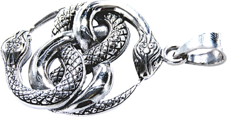 Kiss of Leather Ciondolo a forma di serpente in argento Sterling 925 con cordoncino in cotone