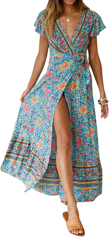 Women Long Dresses Summer Bohemian Short Sleeve V Neck Floral Printed Waist Tie Wrap Boho Beach Maxi Dresses Split