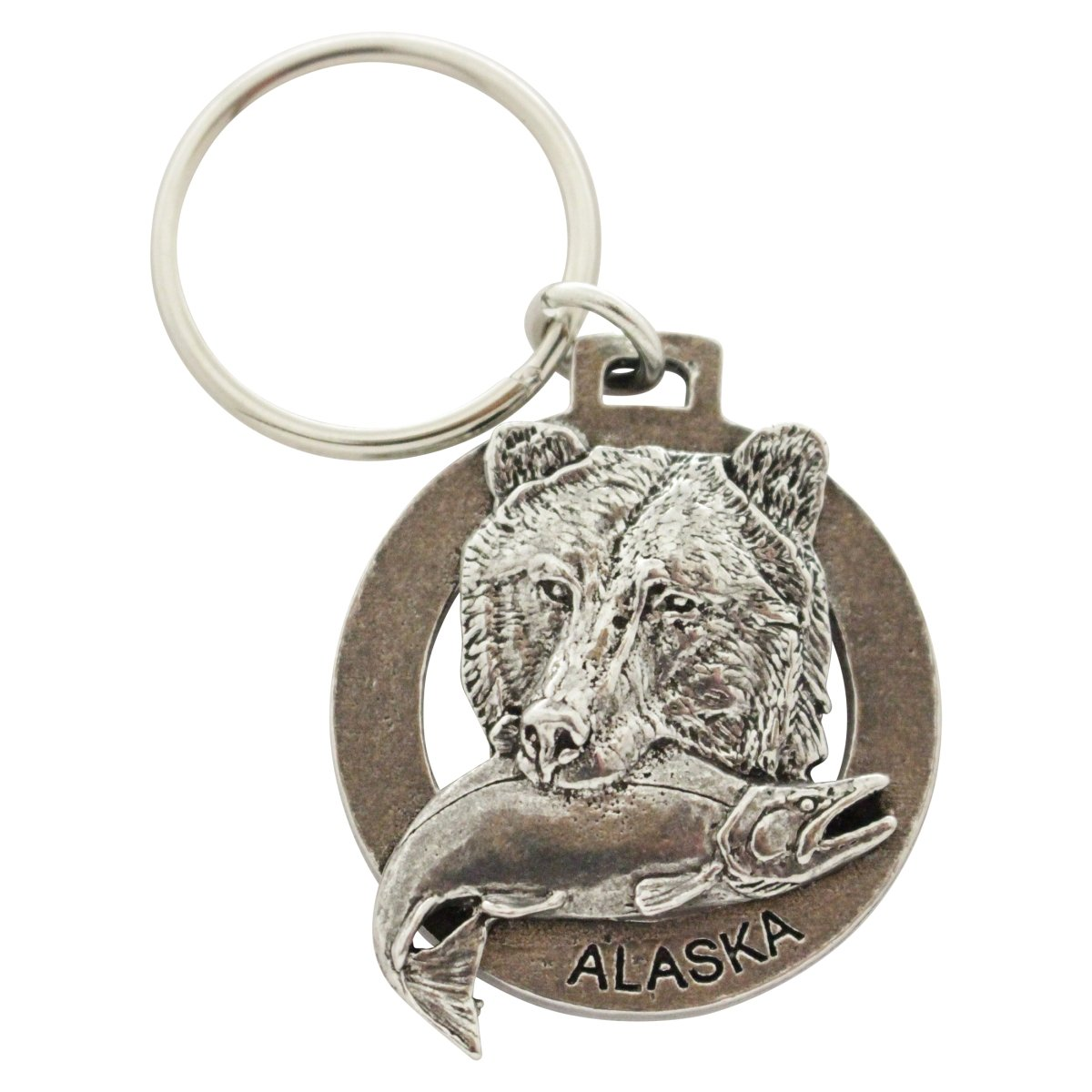 Creative Pewter Designs, Pewter Alaska Bear With Fish Key Chain, Antiqued Finish, A610KC
