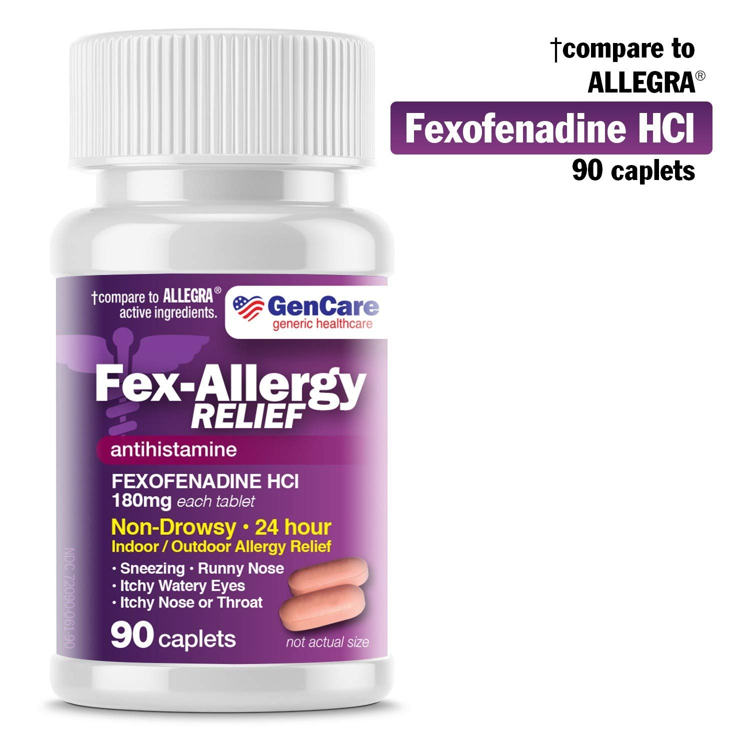 GenCare - Allergy Relief Pills | Fexofenadine HCl 180mg (90 Tablets) | Non Drowsy Antihistamine Allergy Pills for Hay Fever, Seasonal Allergies, Outdoor & Indoor Allergies | Relieves Itchy Eyes & Nose by GenCare
