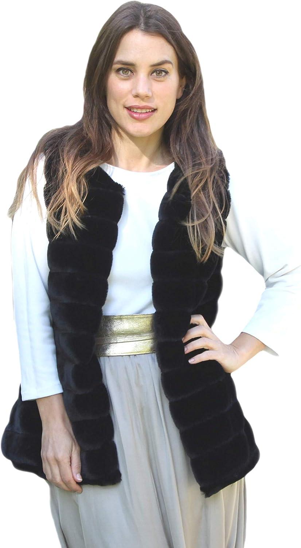 Chaleco Pelo Sintético Mujer Negro Chaleco Corto sin Mangas Elegante Imitación de Piel para Invierno