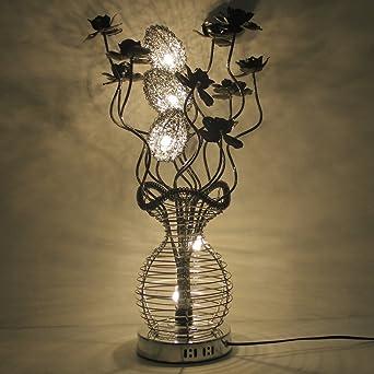 En De Fleurs Et Osiers Led Yorbay® Chaud Lampe Aluminium Décoration Nattéeblanc Grosse Table Floral EHW9ID2