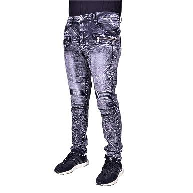 f84a82bf Waimea Mens Moto Slim Fit Denim | Comfortable Skinny Stretch Biker Jeans  with Zipper Detail Black