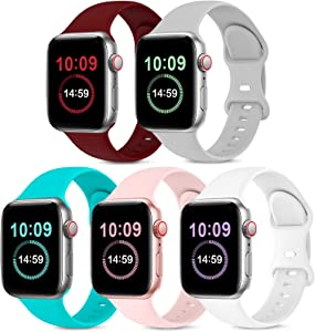 5 Pack Bands Compatible with Apple Watch Band 38mm 40mm, Soft Silicone Sport Replacement Strap Compatible with iWatch Series 6 5 4 3 2 1 SE Women Men Wine Red/Gray/Teal/Pink/White 38mm/40mm S/M