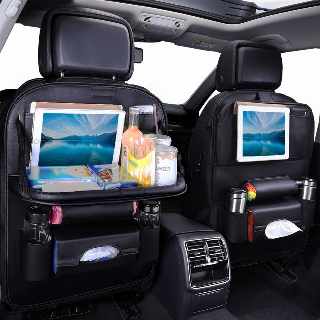 Car Seat Back Organizers with Tablet Holder for Kids Back Seat Pocket with Tray Black Backseat Organziers for Storage Pinze 1 Pack PU Leather Car Backseat Organizer with Folable Table Tray