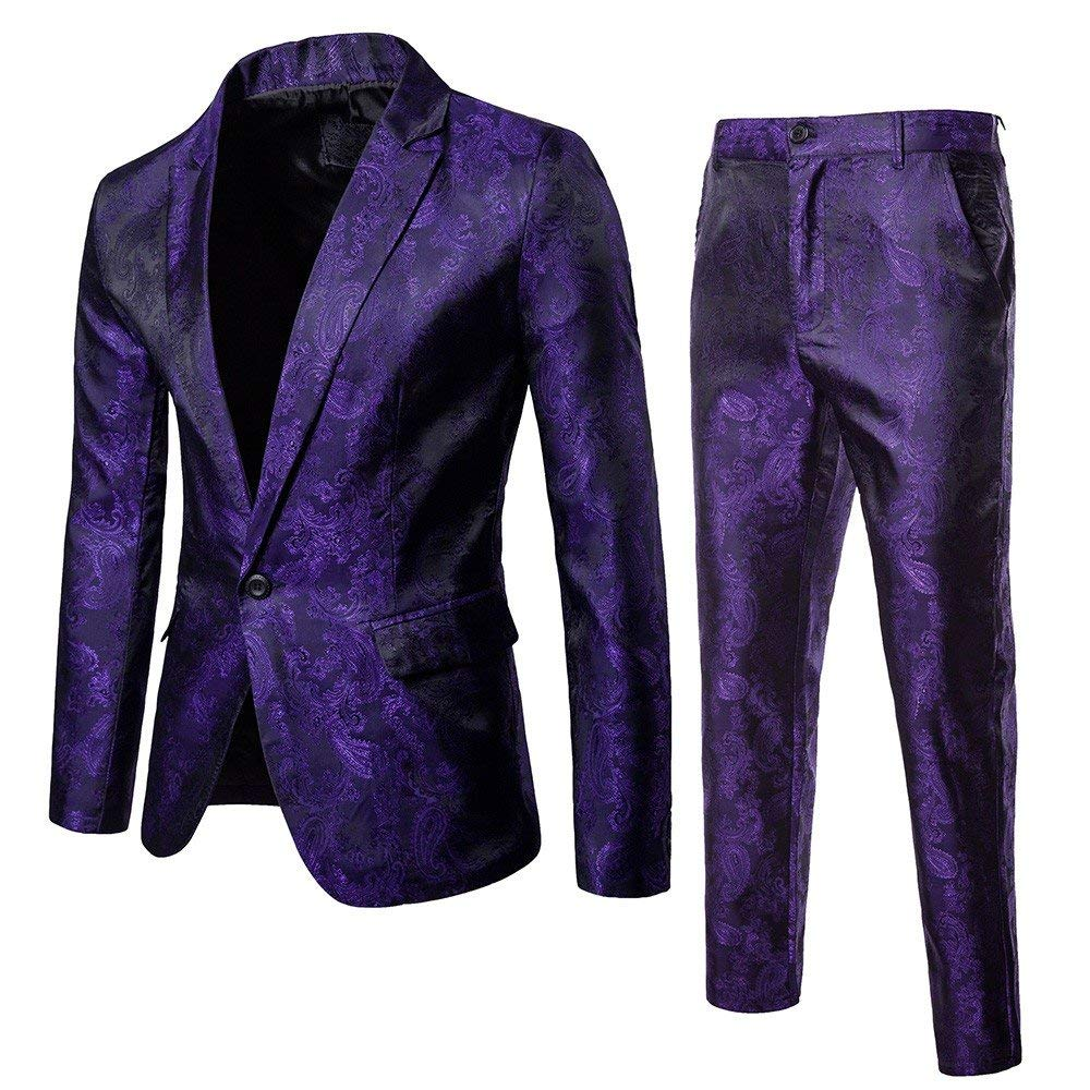DondPO Slim Fit Men's Suit 2 Piece One Button Blazer & Trousers Suit Blazer Dress Business Wedding Party Jacket Coat Purple